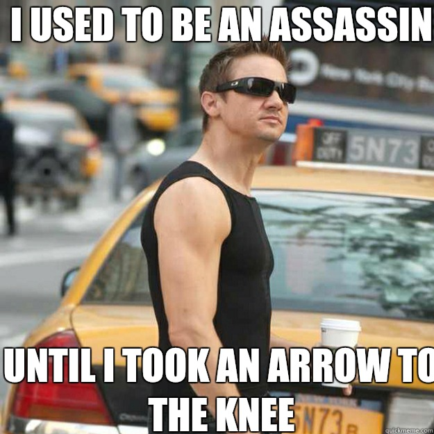 I used to be an Assassin  Until I took an arrow to the knee