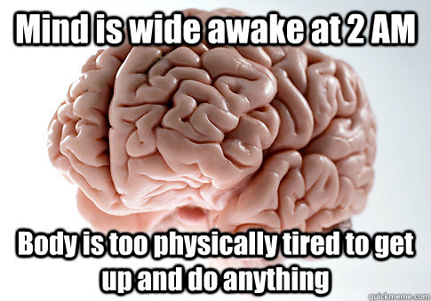 Mind is wide awake at 2 AM Body is too physically tired to get up and do anything - Mind is wide awake at 2 AM Body is too physically tired to get up and do anything  Scumbag Brain
