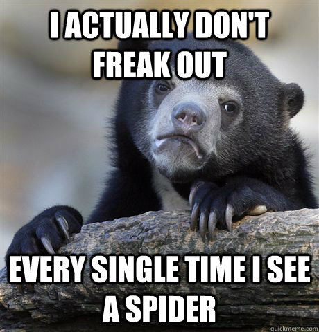 I actually don't freak out every single time i see a spider - I actually don't freak out every single time i see a spider  Confession Bear