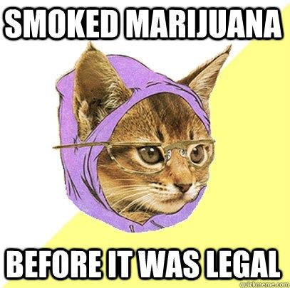 smoked marijuana  before it was legal - smoked marijuana  before it was legal  Hipster Kitty