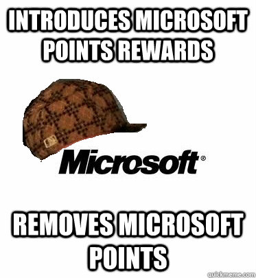 Introduces Microsoft points rewards removes microsoft points