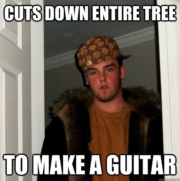 CUTS DOWN ENTIRE TREE TO MAKE A GUITAR - CUTS DOWN ENTIRE TREE TO MAKE A GUITAR  Scumbag Steve