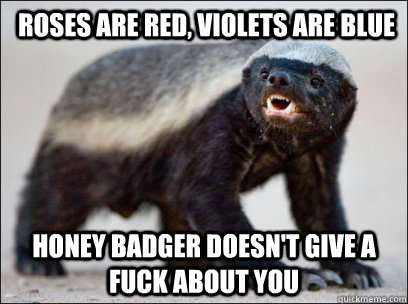 Roses are red, Violets are blue honey badger doesn't give a fuck about you -  Roses are red, Violets are blue honey badger doesn't give a fuck about you  Misc
