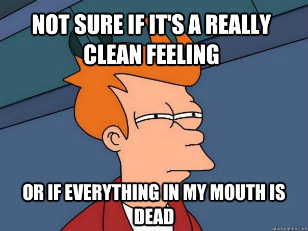 Not sure if it's a really clean feeling or if everything in my mouth is dead - Not sure if it's a really clean feeling or if everything in my mouth is dead  Futurama Fry