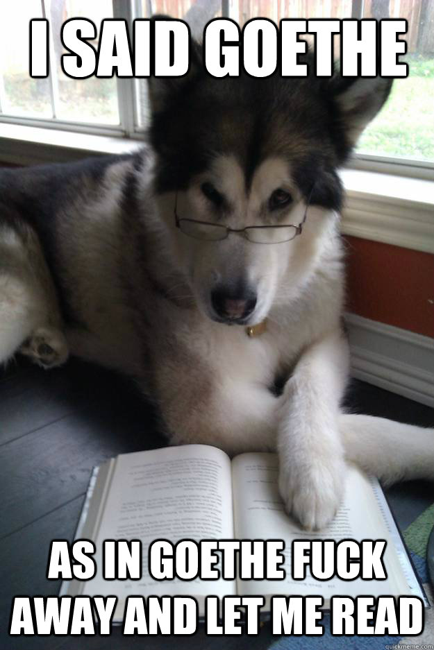 I said goethe as in Goethe fuck away and let me read  Condescending Literary Pun Dog