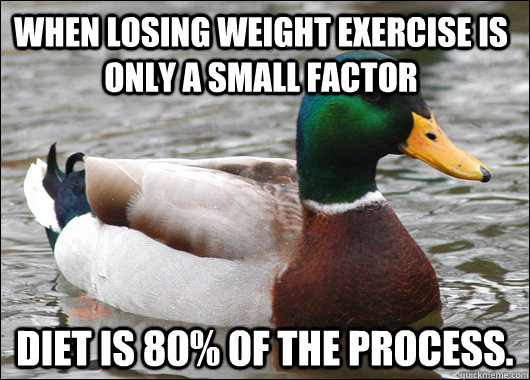 When losing weight exercise is only a small factor Diet is 80% of the process.  - When losing weight exercise is only a small factor Diet is 80% of the process.   Actual Advice Mallard