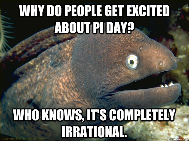 Why do people get excited about pi day? Who knows, it's completely irrational. - Why do people get excited about pi day? Who knows, it's completely irrational.  Bad Joke Eel