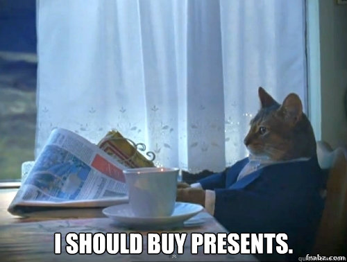 I should buy presents.  Contemplative Breakfast Cat