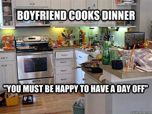 Boyfriend cooks dinner