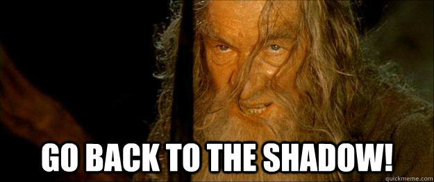 Go back to the shadow! -  Go back to the shadow!  Gandalf go back to the shadow
