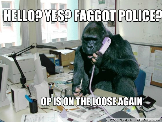 Hello? Yes? Faggot police?  OP is on the loose again  gorilla meme