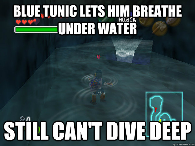 Blue tunic lets him breathe under water Still can't dive deep - Blue tunic lets him breathe under water Still can't dive deep  Misc