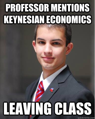 Professor mentions Keynesian economics  leaving class  College Conservative