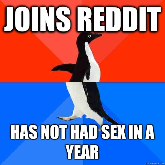 Joins reddit Has Not had sex in a year - Joins reddit Has Not had sex in a year  Socially Awesome Awkward Penguin