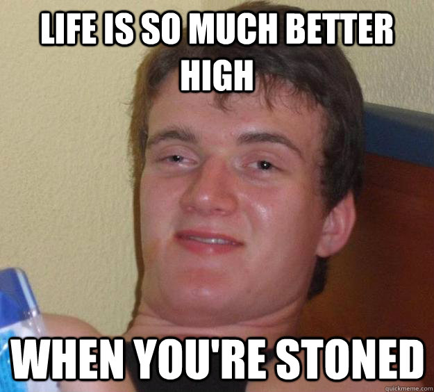 life is so much better high when you're stoned - life is so much better high when you're stoned  10 Guy