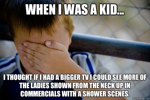 When I was a kid... I thought if I had a bigger TV I could see more of the ladies shown from the neck up in commercials with a shower scenes.  - When I was a kid... I thought if I had a bigger TV I could see more of the ladies shown from the neck up in commercials with a shower scenes.   Misc