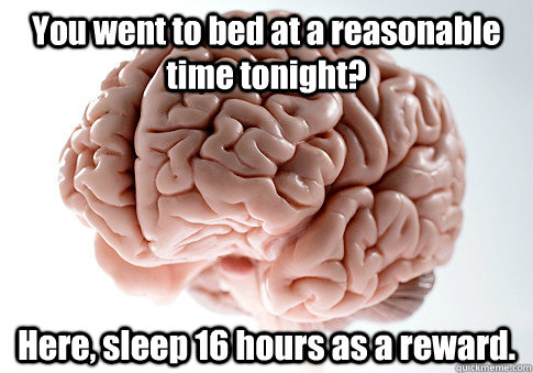 You went to bed at a reasonable time tonight? Here, sleep 16 hours as a reward.  - You went to bed at a reasonable time tonight? Here, sleep 16 hours as a reward.   Scumbag Brain