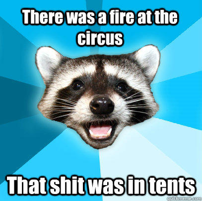 There was a fire at the circus That shit was in tents - There was a fire at the circus That shit was in tents  Lame Pun Coon