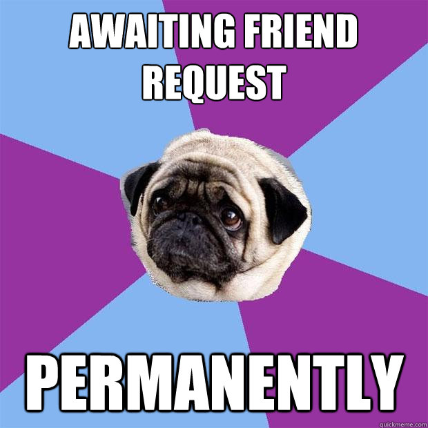Awaiting Friend request Permanently - Awaiting Friend request Permanently  Lonely Pug