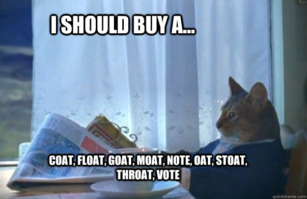 I should buy a... coat, float, goat, moat, note, oat, stoat, throat, vote - I should buy a... coat, float, goat, moat, note, oat, stoat, throat, vote  Sophisticated Cat