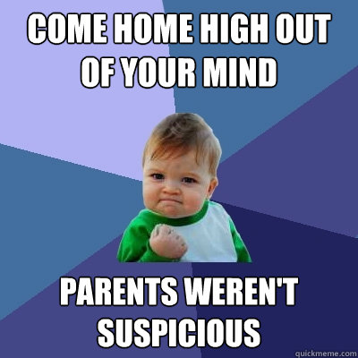 Come home high out of your mind Parents weren't suspicious  - Come home high out of your mind Parents weren't suspicious   Success Kid