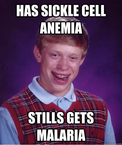 Has sickle cell anemia stills gets malaria - Has sickle cell anemia stills gets malaria  Bad Luck Brian