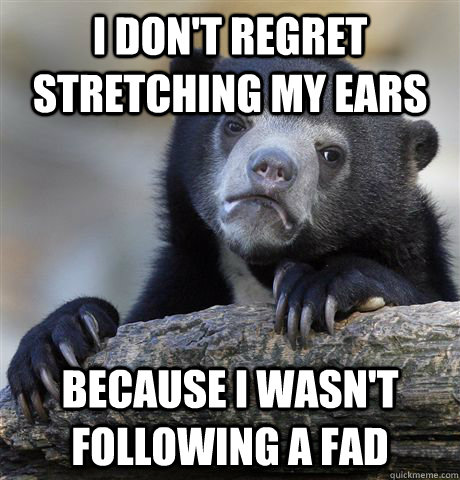 I don't regret stretching my ears Because I wasn't following a fad - I don't regret stretching my ears Because I wasn't following a fad  Confession Bear