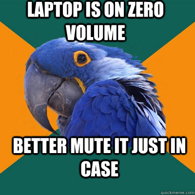 laptop is on zero volume better mute it just in case