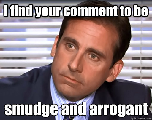 I find your comment to be smudge and arrogant  - I find your comment to be smudge and arrogant   Idiot Michael Scott