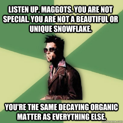 Listen up, maggots. You are not special. You are not a beautiful or unique snowflake.  You're the same decaying organic matter as everything else.  - Listen up, maggots. You are not special. You are not a beautiful or unique snowflake.  You're the same decaying organic matter as everything else.   Helpful Tyler Durden