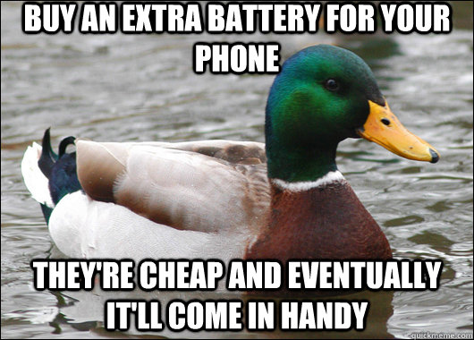 Buy an extra battery for your phone they're cheap and eventually it'll come in handy - Buy an extra battery for your phone they're cheap and eventually it'll come in handy  Actual Advice Mallard