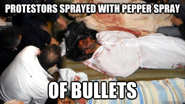 Protestors Sprayed with Pepper Spray of Bullets  Third World Problems