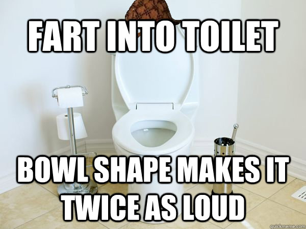 Fart into toilet bowl shape makes it twice as loud