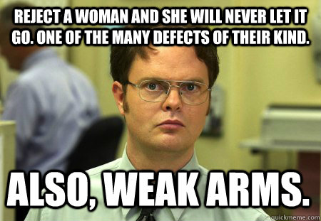 Reject a woman and she will never let it go. One of the many defects of their kind. also, weak arms. - Reject a woman and she will never let it go. One of the many defects of their kind. also, weak arms.  Dwight