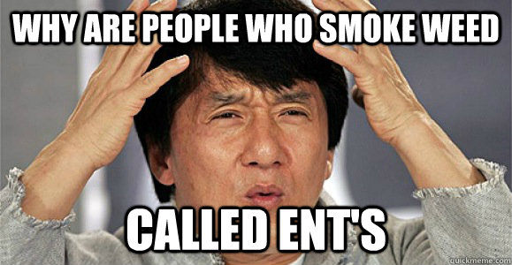 why are people who smoke weed  called ENT's  Confused Jackie Chan