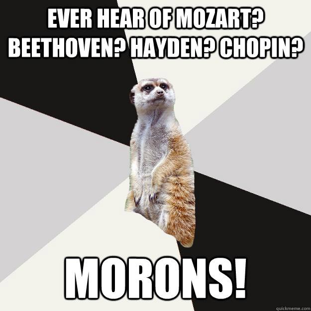Ever hear of Mozart? Beethoven? Hayden? Chopin? MORONS!