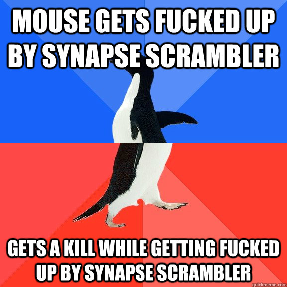 MOUSE GETS FUCKED UP BY SYNAPSE SCRAMBLER GETS A KILL WHILE GETTING FUCKED UP BY SYNAPSE SCRAMBLER - MOUSE GETS FUCKED UP BY SYNAPSE SCRAMBLER GETS A KILL WHILE GETTING FUCKED UP BY SYNAPSE SCRAMBLER  Socially Awkward Awesome Penguin