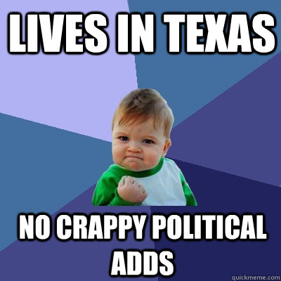 Lives in Texas No crappy political adds - Lives in Texas No crappy political adds  Success Kid