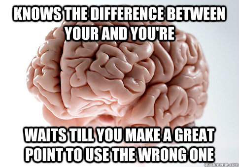 Knows the difference between your and you're Waits till you make a great point to use the wrong one - Knows the difference between your and you're Waits till you make a great point to use the wrong one  Scumbag Brain
