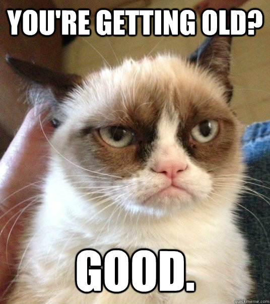 9bdaee8397fe4753db088eed78b0b770ace8b8db0f6d10a04f52ca48d38d55de you're getting old? good good day grumpy cat quickmeme