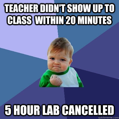 Teacher didn't show up to class  within 20 minutes 5 hour lab cancelled - Teacher didn't show up to class  within 20 minutes 5 hour lab cancelled  Success Kid
