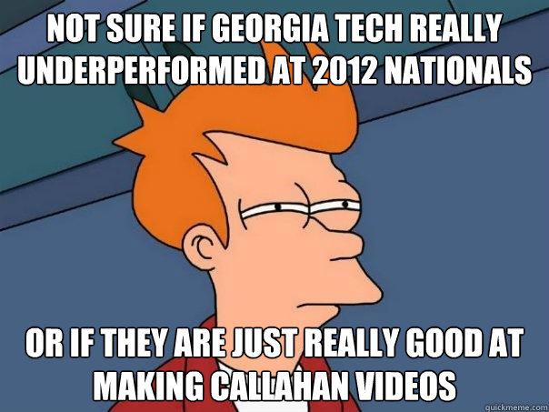 Not sure if Georgia Tech really underperformed at 2012 Nationals Or if they are just really good at making Callahan videos - Not sure if Georgia Tech really underperformed at 2012 Nationals Or if they are just really good at making Callahan videos  Misc