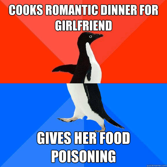 Cooks romantic dinner for girlfriend gives her food poisoning  - Cooks romantic dinner for girlfriend gives her food poisoning   Socially Awesome Awkward Penguin