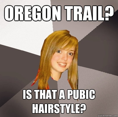 9c3b503b814969f46ccd2cdd253728a62cf83d08fcf5824b7e39634c4a9a7473 oregon trail? is that a pubic hairstyle? musically oblivious 8th,Oregon Trail Meme