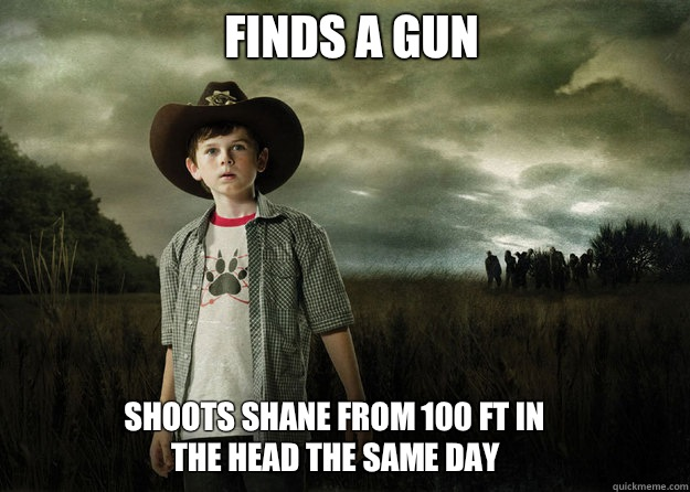 Finds a gun Shoots Shane from 100 ft in the head the same day