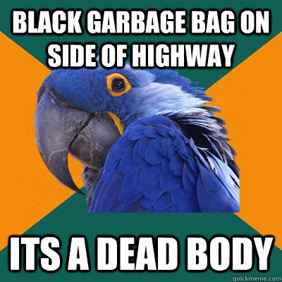 BLACK GARBAGE BAG ON SIDE OF HIGHWAY ITS A DEAD BODY - BLACK GARBAGE BAG ON SIDE OF HIGHWAY ITS A DEAD BODY  Paranoid Parrot