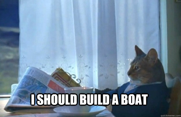 I should build a boat - I should build a boat  Sophisticated Cat