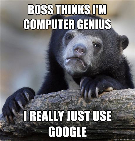 BOSS THINKS I'M COMPUTER GENIUS I REALLY JUST USE GOOGLE - BOSS THINKS I'M COMPUTER GENIUS I REALLY JUST USE GOOGLE  Confession Bear