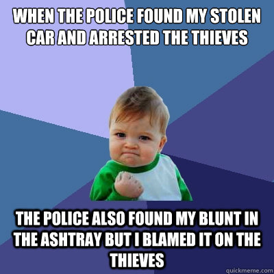 When the police found my stolen car and arrested the thieves the police also found my blunt in the ashtray but i blamed it on the thieves  Success Kid