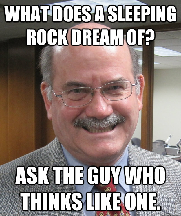 what does a sleeping rock dream of? Ask the guy who thinks like one.